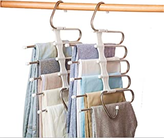VesipaFly Pants Hangers 5 Layers Foldable Stainless Steel Heavy Duty Space Saving Clothes Hangers, Closet Storage Organize...