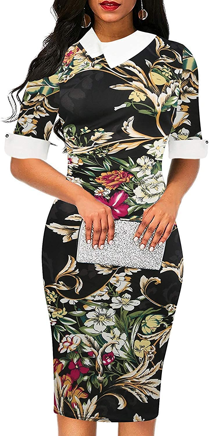 oxiuly Women's Retro Bodycon Knee-Length Formal Office Dresses Work Pencil Dress OX276