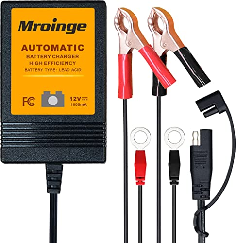 Trickle Charger, Mroinge 12V Automatic Smart Battery Charger and Maintainer, 1000mA Battery Float Charger - MBC010