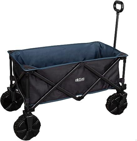 Oferta amazon: Aktive 62620 - Carro transporte plegable, para playa, camping, jardín, ruedas grandes todoterreno ancho especial, mango ajustable, carrito para sombrillas y sillas