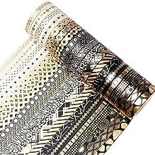 YUBBAEX 20 Rolls Washi Tape Set Black Gold Foil Print Decorative Tapes for Arts, DIY Crafts, Bullet Journals, Planners, Sc...