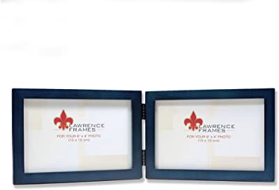 Lawrence Frames Hinged Double (Horizontal) Blue Wood Picture Frame, Gallery Collection, 4