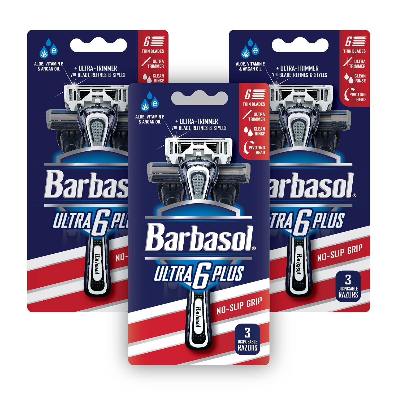 Barbasol Ultra 6 Plus Premium Pack Large discharge sale Value Razor Bundle Disposable Regular store