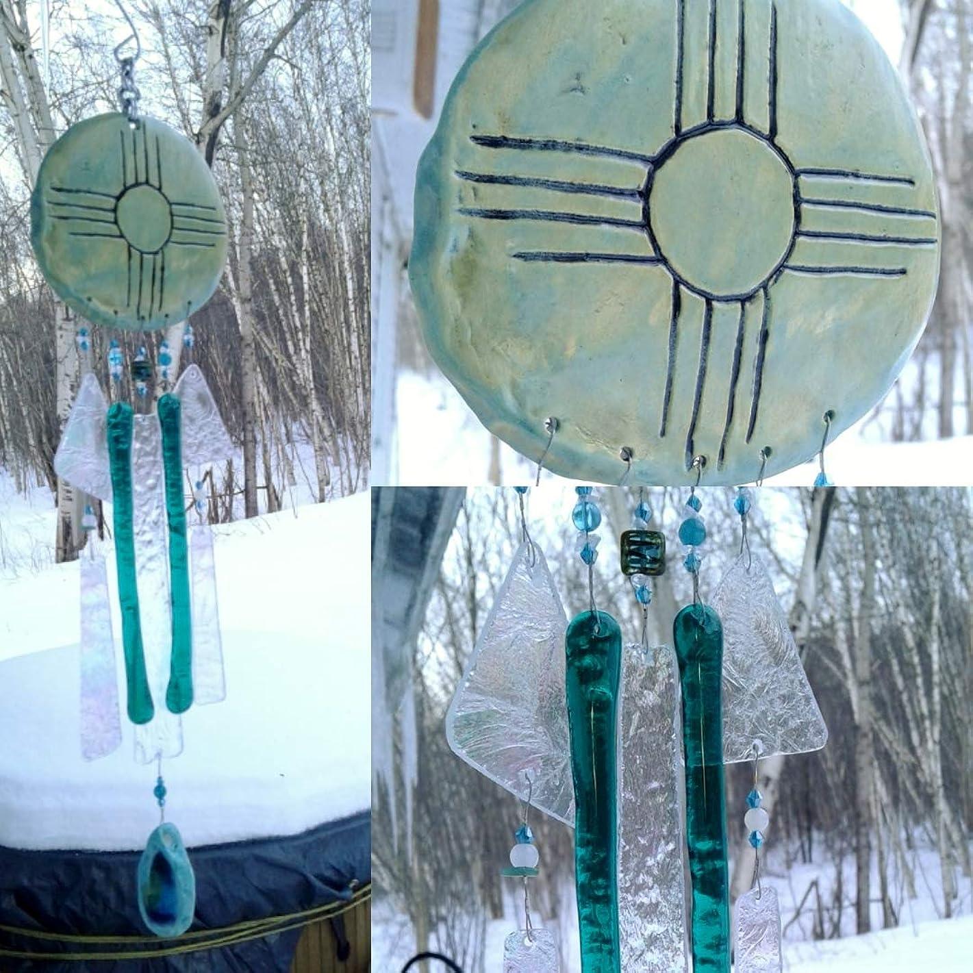 Zia Sun Glass Wind Chime Pottery Chimes Sea Green Hopi New Mexico Garden Mobile
