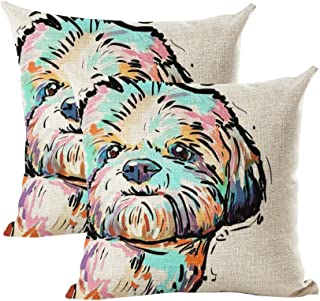 "INSHERE Cute Pet Dog Pattern Pack of 2 Throw Pillow Covers Cotton Linen Cushion Cover Pillowcases Sofa Home Decor 18""x 18"" (Dog 8)"