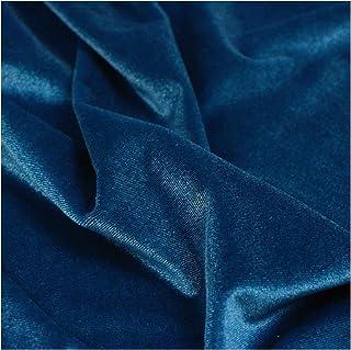 catch-L Tissu Velours écrasé Bleu Vendu au mètre pour confectionner Un Tissu de décoration en Tissu de Rideau de Robe(Siz...