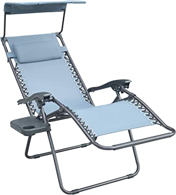 Jeco GCS17 Bonnie Zero Gravity Chair with Sunshade Pillow and Drink Tray-Gray