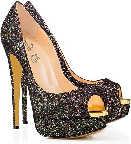 XUE Femmes Chaussures PU Printemps été Pointu Chaussures Talons Basique Pompe Talon Stiletto Mariage Fête et Soirée Robe Formal Affaires Work (Couleur   Une, Taille   35)