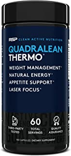 RSP QuadraLean Thermogenic Fat Burner for Men & Women, Weight Loss Supplement, Crash-Free Energy, Metabolism Booster & App...