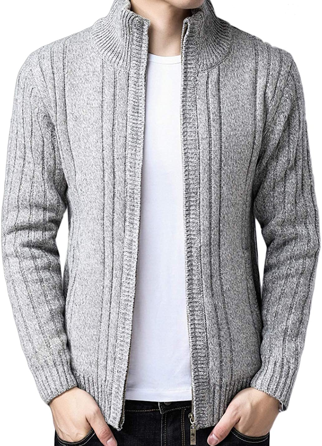 Lentta Mens Slim Fit Solid Stand Collar Full Zip Up Sherpa Lined Cardigan Sweater