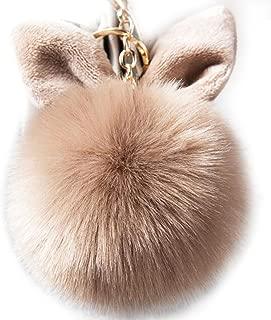 Women/'s donna in finta pelliccia coniglio Pom Pom Borsetta Borsa Fascino//Portachiavi Regalo