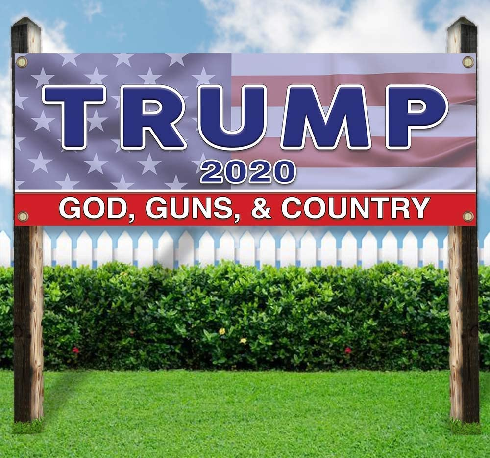Protect Our Gods Guns /& Country Banner is a 13 oz premium heavy weight vinyl banner with stiched hem and metal grommets or display Trump 2020 In new condition for advertising See flags and signs.
