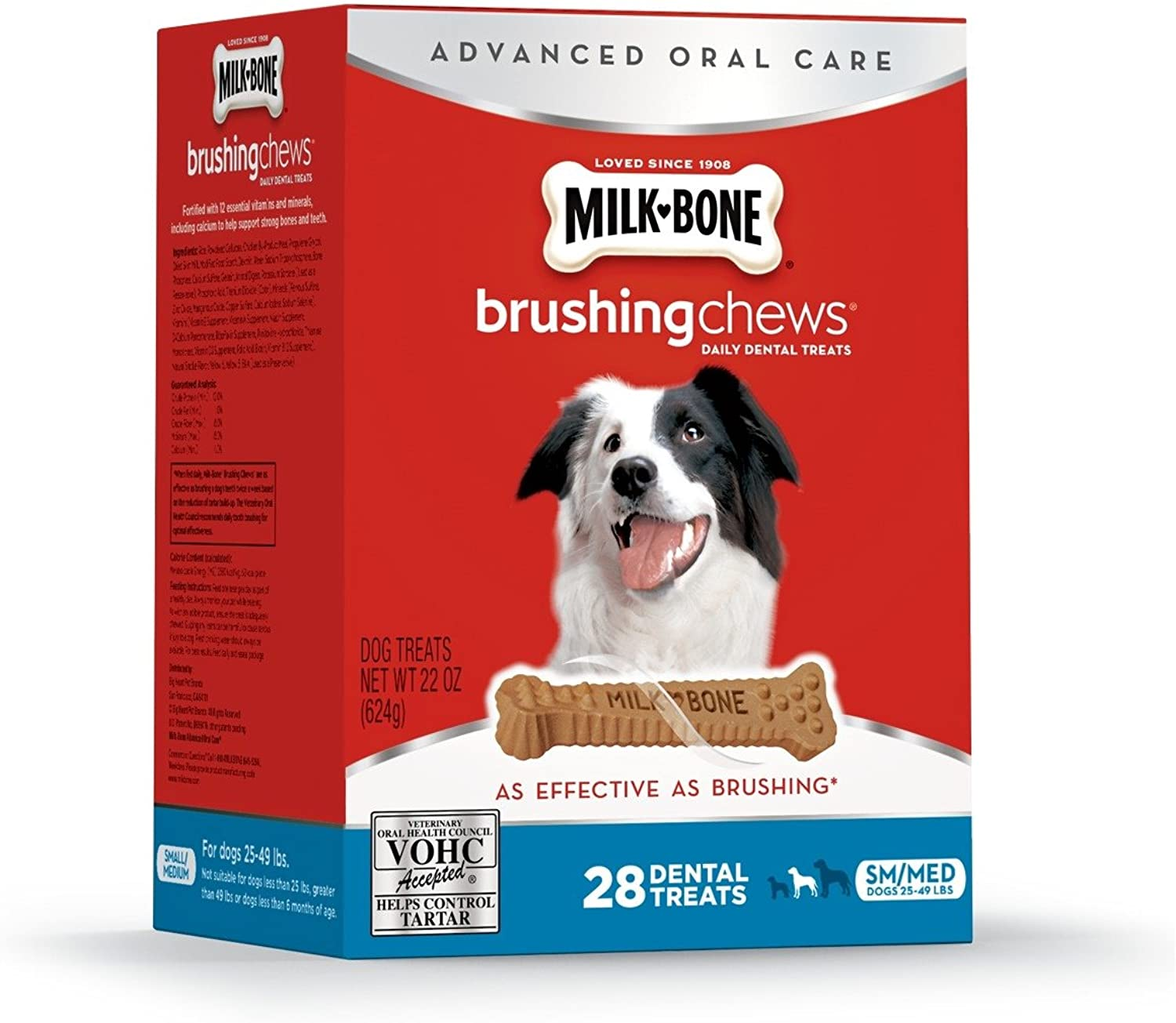 MilkBone Brushing Chews Daily Dental Treats  Small Medium Value Pack, 22 Ounce  28 Bones