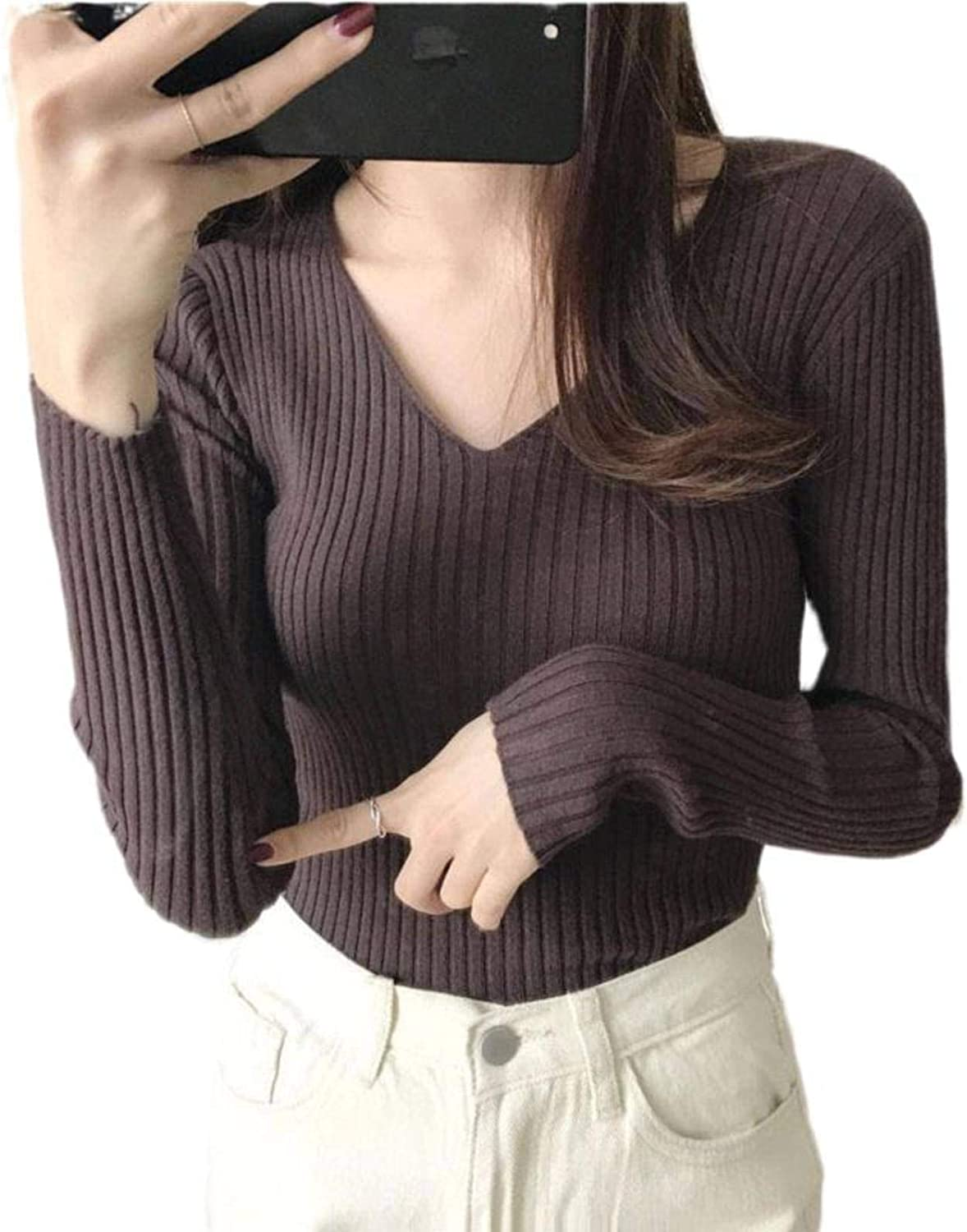 NC Women's V-Neck Slim Fit Pullover Cardigan Top in Sweater, Versatile Long Sleeve Knit Bottoming Shirt with Tight Fit