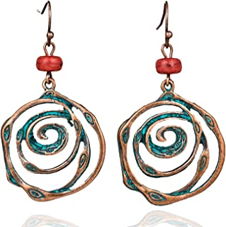 Antique Vintage Spiral Dangle Drop Earrings With Stone Women