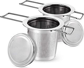 Filtro de té, colador de té para té suelto, diseño de mango plegable, apto para la mayoría de tazas de té.