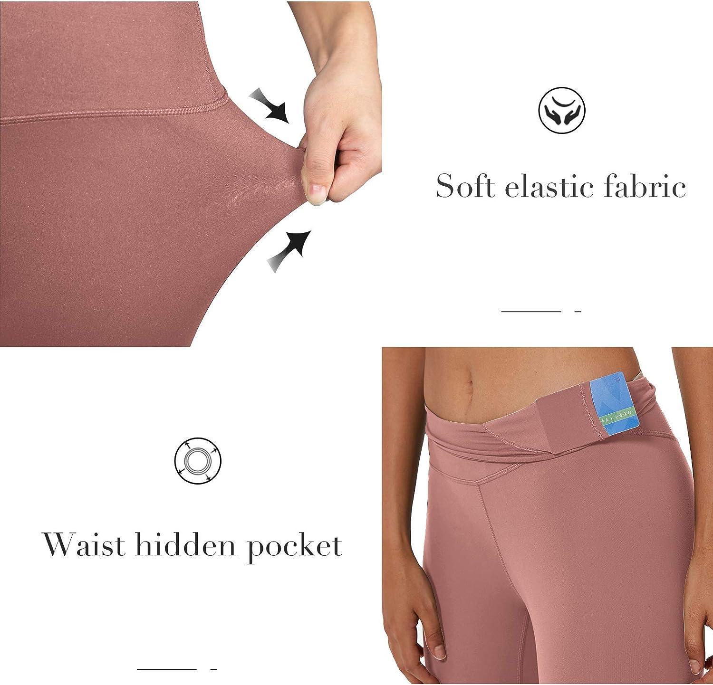 YoYogini Women High Waist Yoga Pants with Pockets Workout Tummy Control Sports Leggings