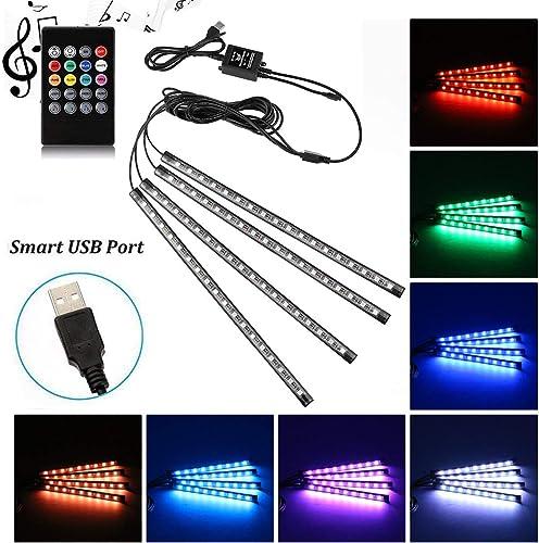 Car LED Strip Light, Uniwit 4 Pcs Multicolor Music Car Interior Atmosphere USB Lights for Car TV Home with Sound Acti...