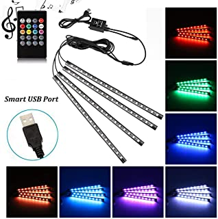 Car LED Strip Light, Uniwit 4 Pcs Multicolor Music Car Interior Atmosphere USB Lights for Car TV Home with Sound Active Fu...