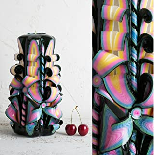 Candela Intagliata Multicolore Nero e Arcobaleno - Arte Scultorea Ornamentale Artigianale - EveCandles