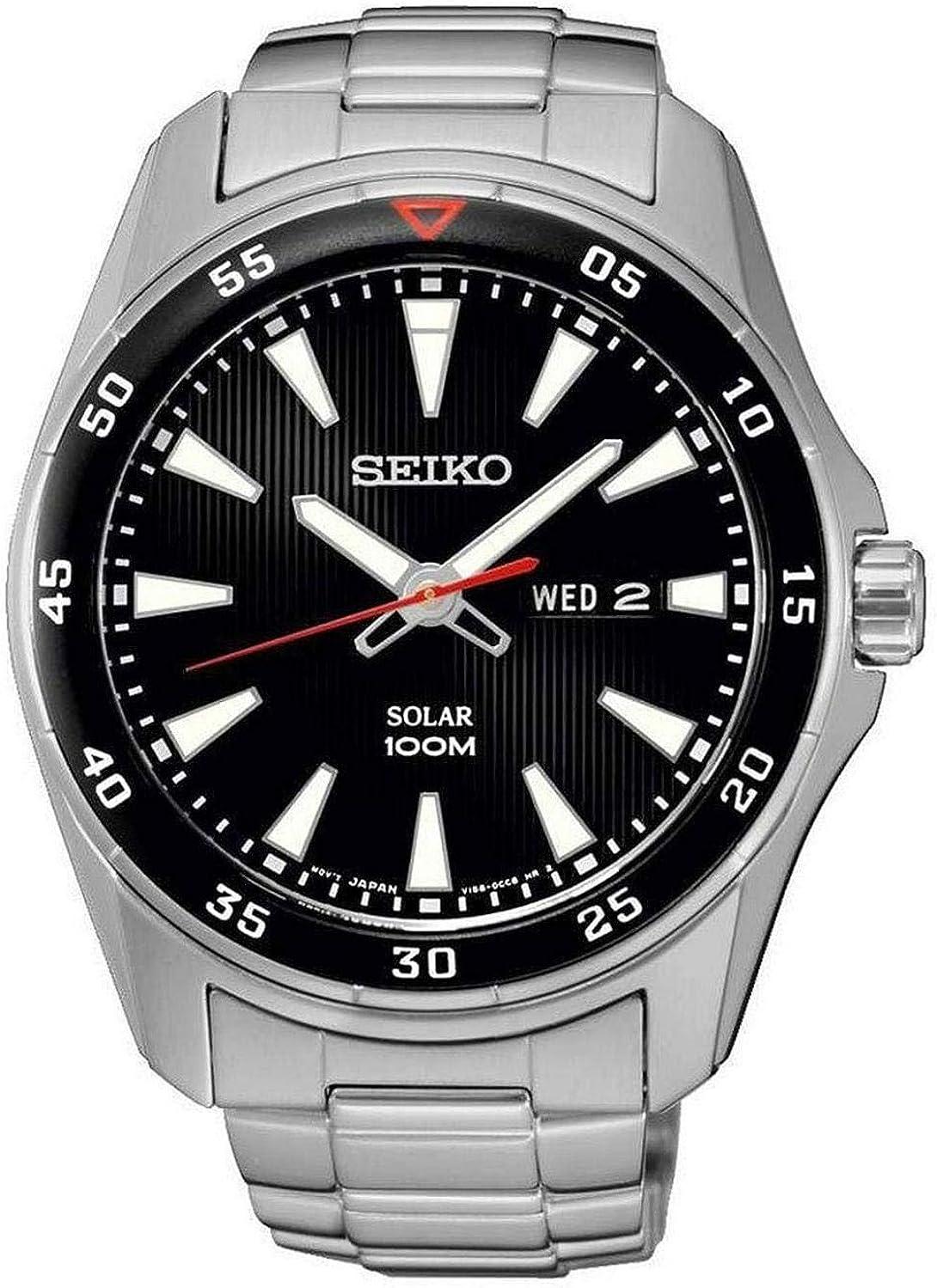Reloj Seiko Solar Sne393p1 Hombre Negro