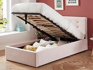 HOMIFAB Lit Coffre Enfant 90x190 en Velours Rose poudré avec tête de lit, sommier à Lattes et Rangement - Collection Tina