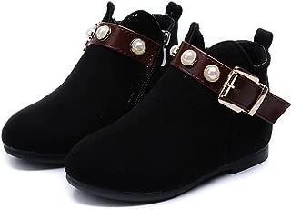 feilongzaitianba Girls Boots Children Shoes Winter Zipper Fur Warm Cute Peals Toddler Girls Boots Black Red Size 26-36