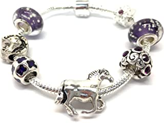 Horse Lovers Dream Silver Plated Charm Bracelet Girls with Gift Box. Girls Gift Age 9 to 13. Birthday or Christmas Stocking Filler. 17cm