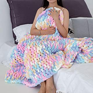 Rainbow Color Chunky Knit Blanket - Super Soft Colorful...