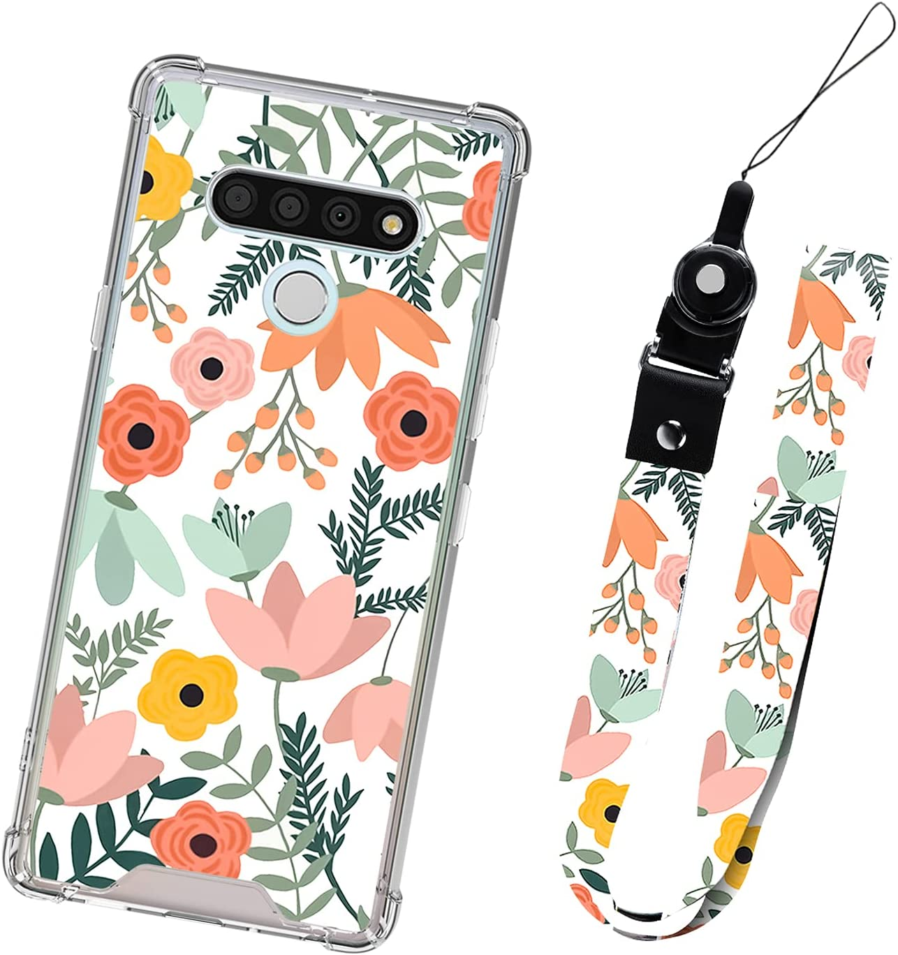 LG K51 5G Case Orange Floral with Lanyard for Women Girls Protective Shockproof Heavy Duty Cute Pink Flower Pattern Cell Phone Bumper Cover Case Neck Strap for LG K51 5G 6.5