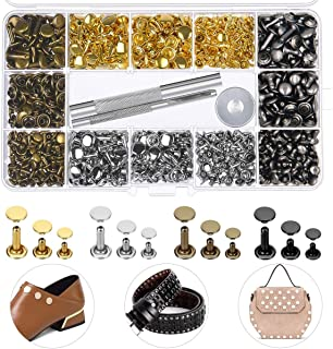 EuTengHao 484Pcs Leather Rivets Double Cap Rivet Tubular Metal Studs 3 Sizes with Punch Pliers and 3Pcs Setting Tool Kit for Leather Craft Repairs Decoration (Gold,Silver,Bronze,Gunmetal, 4 Colors)
