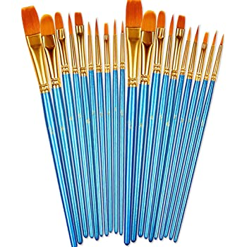 BOSOBO Paint Brushes Set, 2 Pack 20 Pcs Round Pointed Tip Paintbrushes Nylon Hair Artist Acrylic Paint Brushes for Acrylic Oil Watercolor, Face Nail Art, Miniature Detailing & Rock Painting, Blue