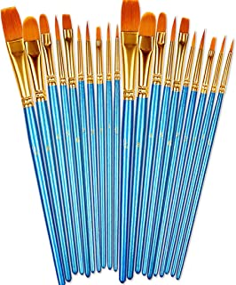 BOSOBO Paint Brushes Set, 2 Pack 20 Pcs Round Pointed Tip...