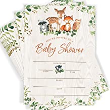 Woodland Party Baby Shower Invitations, 25 Cards and Envelopes, Forest Theme, Woodland Creatures, Fox Baby