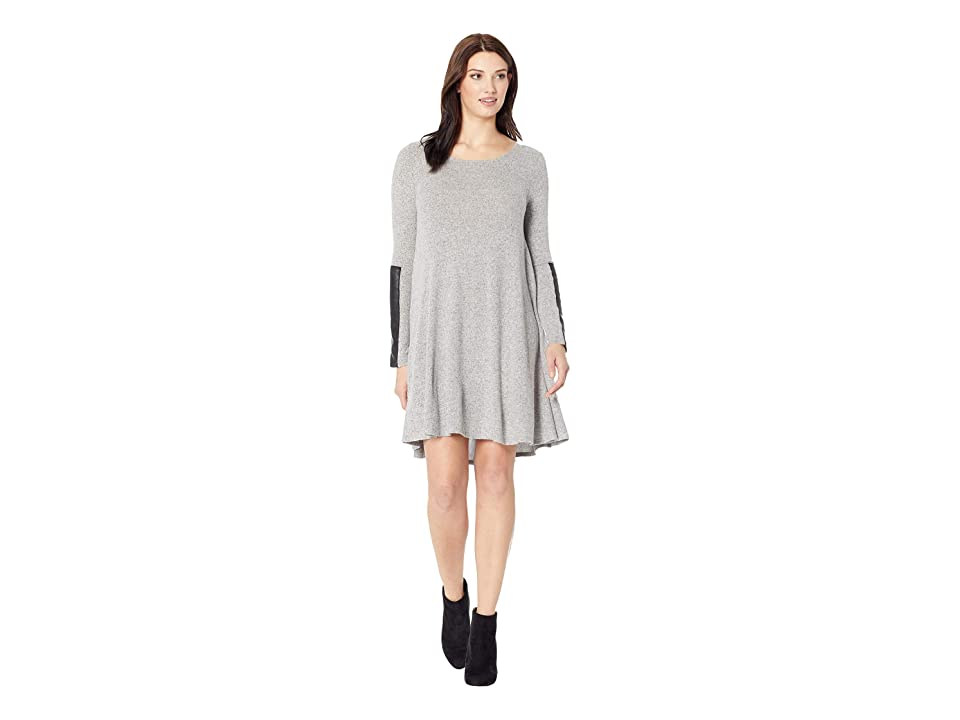 Karen Kane Faux Leather Detail Dress (Gray) Women