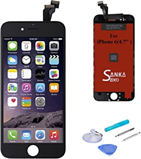 Sanka iPhone 6 LCD Screen Replacement Black, Digitizer Display Retina Touch Screen Glass Frame Assembly for iPhone 6 4.7 inches - Black (Free Tools Included)