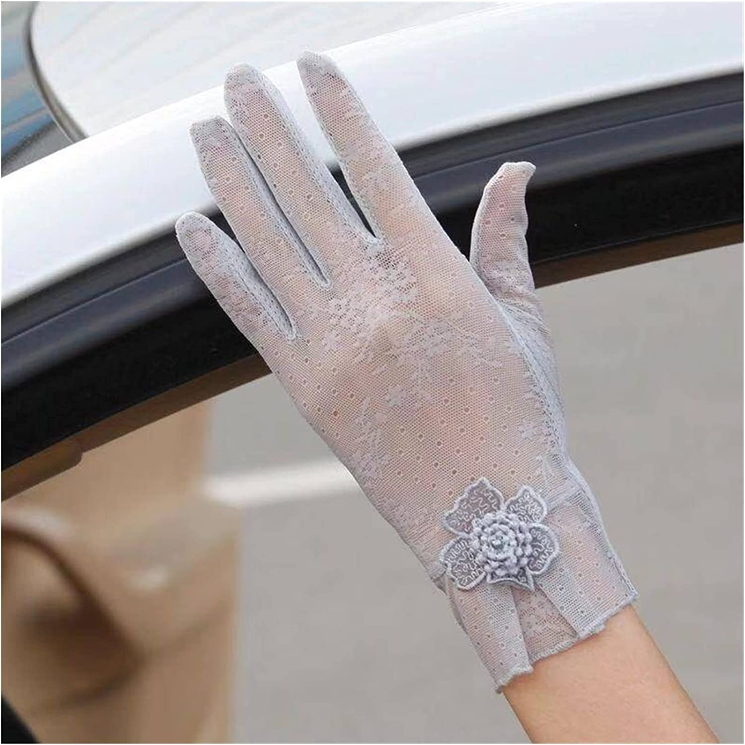 DMYONGLIAN Lace Gloves New Summer Women's Lace Gloves Ladies Anti-UV Anti-Slip Gloves Female Car Driving Gloves Women Accessories (Color : Gray1, Gloves Size : One Size)