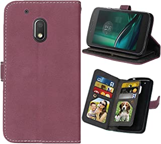 Moto G Play (4th Gen) Case, Moto G4 Play Case, SUMOON Premium PU Leather Flip Wallet Cover Case with 9 Card Slots & Stand Feature Magnetic Closure for Motorola Moto G4 Play (2016) (Rose)