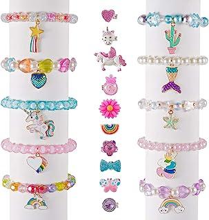 Deoot 20 عدد انگشتر و دستبند دخترانه کوچک ، 10 عدد حلقه دخترانه قابل تنظیم و 10 عدد دستبند شاهزاده خانم برای کودکان نوپا دختران کودک