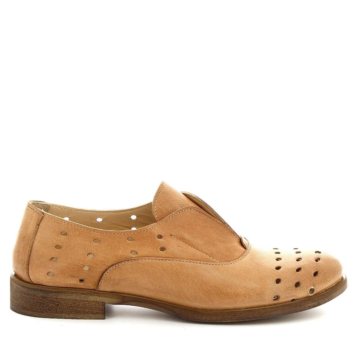 ステッチ二年生所得[LEONARDO SHOES] レディース 7ROKTOFFY ベージュ 革 係靴ひも