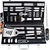 ROMANTICIST 27pc BBQ Accessories Set with Thermometer - The Very Best Grill Gift on Birthday Valentine's Day - Heavy Duty Stainless Steel Grill Set in Case for Outdoor Cooking Camping Grilling Smoking