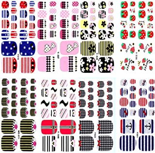 8pcs Toes Full nail stickers Decal Beauty for Women Girls Kids Decals Manicure polish art Glass slice toe nail sticker (Cute)