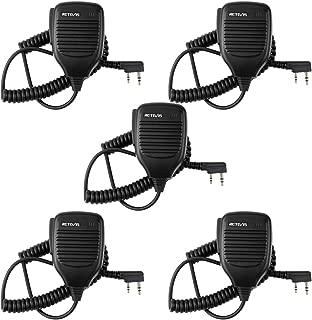 Retevis 2 Pin Handheld Remote Speaker Mic for Kenwood/Baofeng UV-5R/888S Retevis H777/RT21 Walkie Talkie 2 Way Radio (5 Pack)