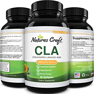 CLA Diet Weight Loss Pills for Women and Men with Pure Conjugated Linoleic Acid and Safflower Oil Fat Burner + Metabolism ...