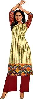 ladyline Womens Casual Cotton Kurta Printed Indian Kurti Tunic (Size-40/ Lime Green)