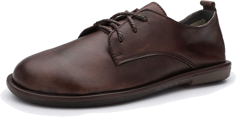 Huegu Flache Schnürschuhe für Damen aus echtem Leder Britischen Stil Freizeit Schuhe Runde Spitze wild Style Brogues Frühling und Sommer