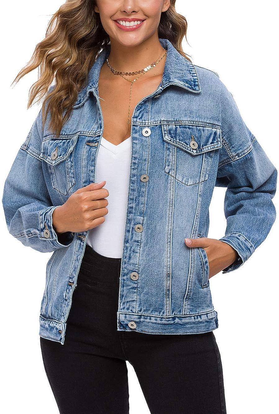 Cantonwalker Loose Women's Denim Jean Jacket,Oversize Vintage denim jacket,Long Sleeve Boyfriend Denim Jacket coat…