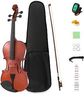 LAGRIMA 4/4 مبتدی ویولن ، برچسب یادداشت های ویولن ، دست ساز کیت شروع کننده ویولن صوتی ، کیف ، کمان ، تعظیم ، گل رز و استراحت چانه