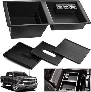 JAUTO Center Console Insert Organizer Tray for 2014-2018 GM Vehicles Silverado Sierra Suburban Tahoe Yukon Front Floor Insert Tray (Black) Replaces 22817343