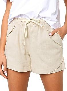 Dokotoo Womens Casual Drawstring Elastic Waist Comfy Cotton Linen Shorts